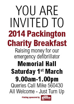 PACKINGTON CHARITY BREAKAST 1ST MARCH 2014